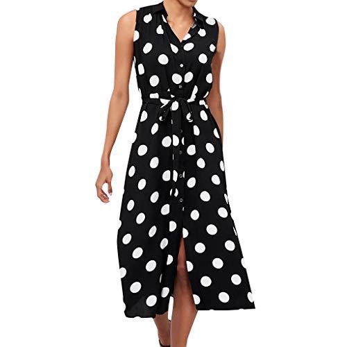 iHENGH Damen Sommer Rock Lässig Mode Kleider Bequem Frauen Röcke Boho Kleid Polka Dot Prints V Ausschnitt Taille Lace Up ärmelloses Kleid(Schwarz, S)