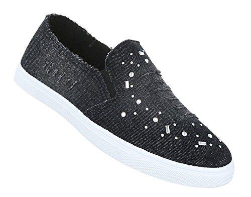 Damen Halbschuhe Schuhe Slipper Loafer Schwarz