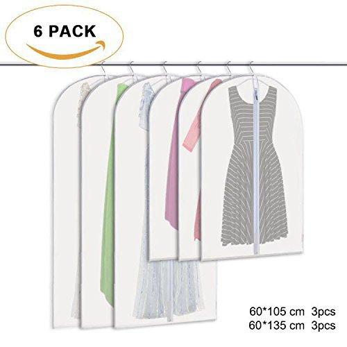 6 tlg Set Kleidersack – 60 x 105 cm + 60 x 135 cm Kleiderhülle Anzugsack Anzughülle mit Reißverschluss transparent atmungsaktiv für Kleider und Anzüge