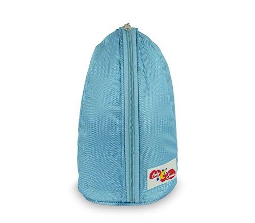 270028 Grand porte-biberon isotherme 28 x 14 cm avec une poche sur le dos et une sangle - Bleu