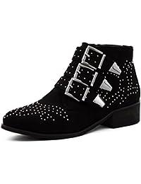 Marimo Damen Nieten Stiefel Chelsea Boots mit Schnallen Stiefeletten in  Lederoptik f560e78ca8