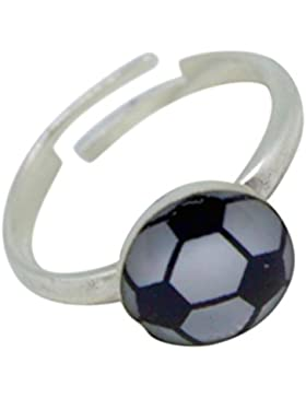 SL-Collection Ring Kinderring Zehring Fussball Grösse einstellbar 925 Silber