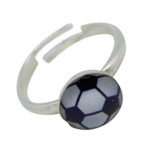 inderring Zehring Fussball Grösse einstellbar 925 Silber (Fußball Ring)