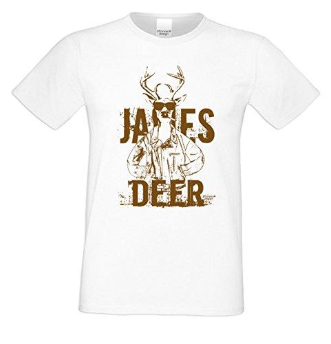 Herren-Trachten-Wiesn-Motiv-Fun-T-Shirt James Deer auch in Übergrößen 3XL 4XL 5XL Farbe: weiss Weiß