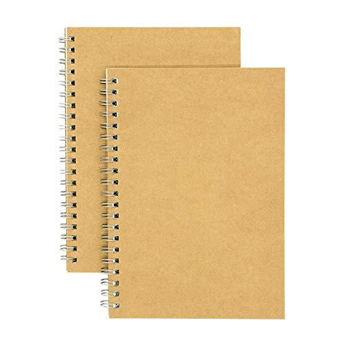 ABREOME 2 Stück Spiral Notizbuch Set Retro Skizzenbuch A5,Notizblöcke,Tagebuch Notebook,100 Seiten / 50 Blatt, 7,5