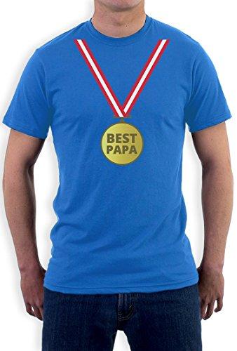 Präsent T-Shirt mit Gold Medaille - Bester Papa mit Auszeichnung T-Shirt Hellblau