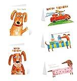 Kibano 10er Set hochwertige Geburtstagskarten | Grußkarten mit 5 Motiven + weiße Briefumschläge (Design No.2)