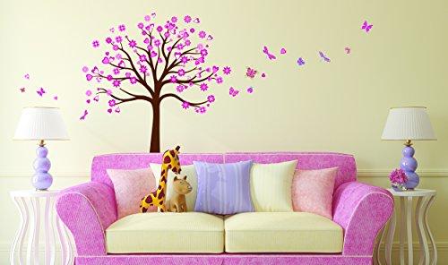 Sticker für Wand – Wandtatoos für Kinderzimmer, Wohnzimmer, Schlafzimmer, Babyzimmer - Wanddeko Modern – 2 x 70x50cm Wandsticker Deko Set Folien Herz Baum