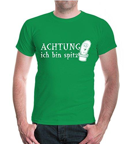 buXsbaum® T-Shirt Achtung ich bin spitz Kellygreen-White