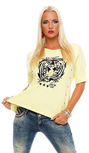 Damen Tiger T-Shirt Locker Rundhals Top Sommer Shirt Pastell mit Motiv silber Perlen Gr. S M 36 38, 2998 Gelb