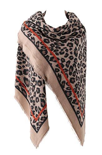 Estampado de Leopardo de Las Mujeres Cálido Bufanda de Invierno Abrigo Mantón Khaki