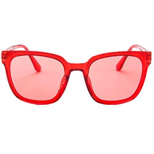 Oversized Sonnenbrille Polarisiert für Damen/Dorical Mode Über-Groß Designer Sonnenbrillen mit UV-400 Schutz Brille/Frauen Metall Rand Brillen Gespiegelte Linse Retro Sunglasses(Rot)