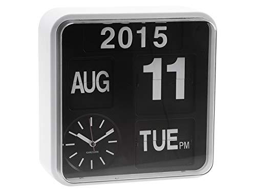 Karlsson KA5364WH - Mini-Wanduhr mit Kalender - Fallblattanzeige - Weiß (Moderne Uhr Und Kalender)