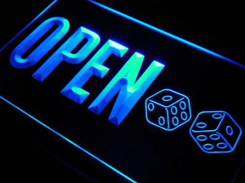 Enseigne Lumineuse j808-b OPEN Dice Casino Game Room Bar Neon Light Sign
