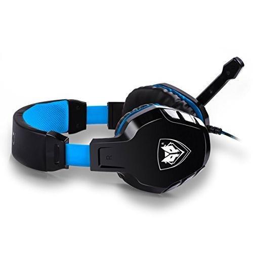NUBWO NO3000 Over-ear Stereo Kopfhörer, Gaming Headset mit hohe-Empfindlichkeit Noise-Cancelling Mikrofon & Lautstärkeregler für PC, PS4 - Blau/Rote (Blue)