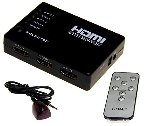 Esamconn® Interruptor / conmutador HDMI de , 5x1 5 puertos 5 Entrada 1 salida Interruptor audio / video de HDMI con el telecontrol del IR para el Azul-Rayo, PC, HDTV, Xbox, PS3, DVD etc.