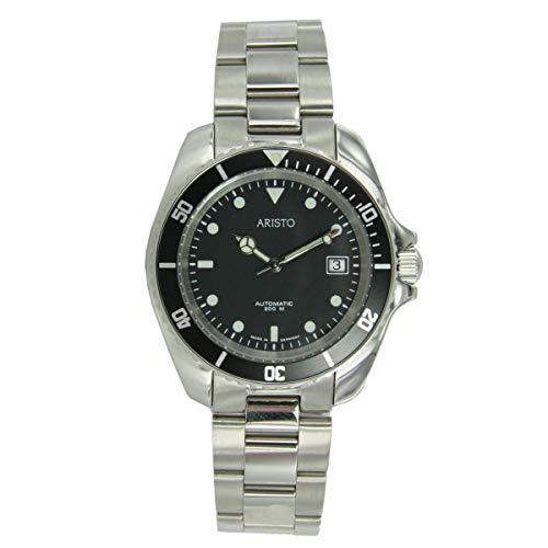 ARISTO unisex al quarzo subacqueo modello di orologio 4H108TU acciaio inox 20 ATM svizzero ETA ETA 2824-2 automatic movimento Scuro