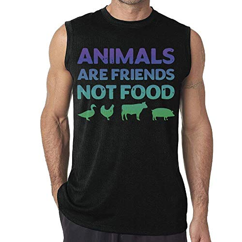 Animals Are Friends Not Food Vegans Vegetarian Mens Sleeveless Tank Top T-Shirt Casual Gym Vest Tee