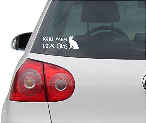 Aufkleber / Autoaufkleber - JDM - Die cut - REAL MEN LOVE CATS - Cat Vinyl Car Decal Sticker - weiß - 139mm x55mm - Cat-vinyl Decal Sticker