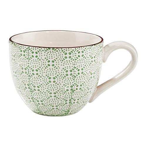 BUTLERS Retro Tasse 550ml - Grüne Kaffeetasse Vintage Design - Hochwertige Porzellantasse, Kaffeebecher, bunte Teetasse