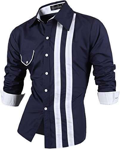 jeansian Herren Freizeit Hemden Shirt Tops Mode Langarmshirts Slim Fit Z021 Navy