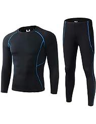 0ce8e9e27c9ba SKYSPER Camiseta Térmica Técnica de Compresión para Hombres Manga Larga  Pantalones Largos Ropa Interior Termal Traje