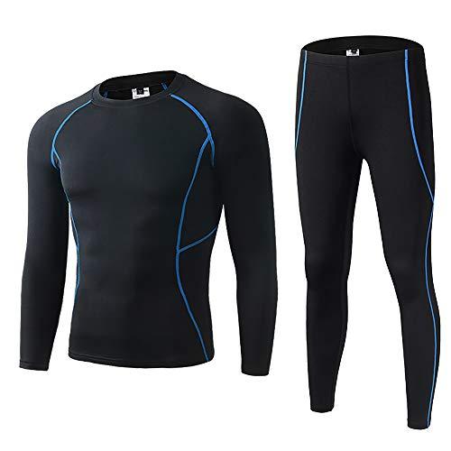 Skysper set biancheria intima termica, tuta da allenamento aderente antivento inverno autunno maglia termica + pantaloni termici per corsa sci palestra ciclismo fitness blu