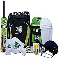 CW deporte Cricket Kit verde con Liga 20–20Cachemira sauce completo bate de Cricket, mango corto incluidos todos los accesorios de bateo Cricket Kit bolsa de hombro + Mochila, verde, Size Senior Ideal For 13 + Year Child