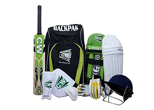 CW Sports Cricket Kit grün mit League 20-20 Kaschmir Weide Full kurzer Griff Cricket Bat inkl. alle Batting Zubehör + Rucksack Schulter Cricket Kit Bag, grün, Size Senior Ideal For 13 + Year Child