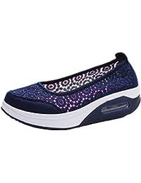 a6314280 Fuxitoggo Zapatos Huecos de Malla Plana con Cordones de Malla para Encaje  (Color : Azul