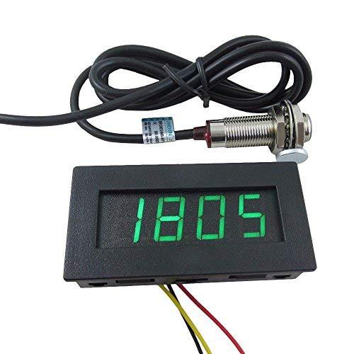 DIGITEN LED-Tachometer mit 4 Zahlen, U/min, Tacho, und Raum- Näherungs-Sensor-Schalteffekt NPN.