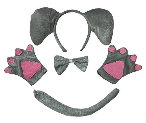 Petitebelle Stirnband Bowtie Schwanz Handschuhe Unisex Adult 4pc Kostüm Einheitsgröße Elefant