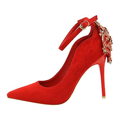 DIMAOL Scarpe Donna Pelliccia Caduta Molla Gladiatore della Pompa Base Tacchi Stiletto Heel per Party & Abito da Sera Mandorla Rosa Rosso Nero Rosso