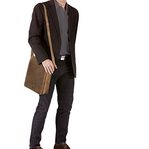 STILORD Joris Vintage Borsa Messenger medio Uomo Donna Borsa a tracolla per iPad 10,1 pollici Tablet PC Tracolla classico in vera pelle, Colore:marrone medio marrone medio
