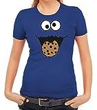 Karneval Fasching Verkleidung Damen T-Shirt Gruppen & Paar Kostüm Blaues Monster Premium, Größe: M,Royal Blau
