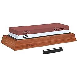 BearMoo, set pietra affilacoltelli 3.000/8.000grit, con supporto di legno e guida per coltello inclusi