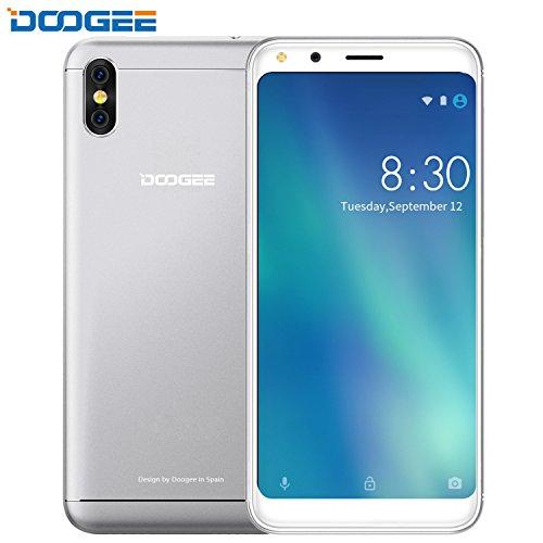 "Smartphone Pas Cher, Telephone Debloque DOOGEE X53 Dual SIM, 5.3 ""HD + 18:9 Ratio Pleine Vision Smartphone Android 7.0 - MT6580M - 16 Go ROM - Double 5.0MP Caméra Smartphone - 2200mAh - Bluetooth - GPS -Argent"