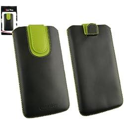 emartbuy Noir/Vert Étui Coque Case Cover en Cuir PU (Taille 5XL) avec Languette Push Up Adapté pour Klipad KL48PH 3G 6 Pouce Smartphone