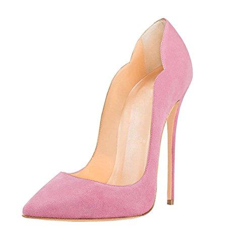 Edefs Damen High Heels Stiletto Spitzer Schuhe 12cm Schwarzen Pumps