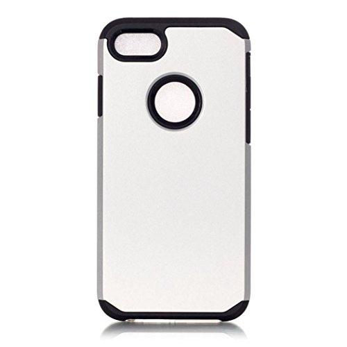 Koly De alta calidad PC + TPU caso de la cubierta de piel para el iPhone 7 Plus de 5.5 pulgadas,plata