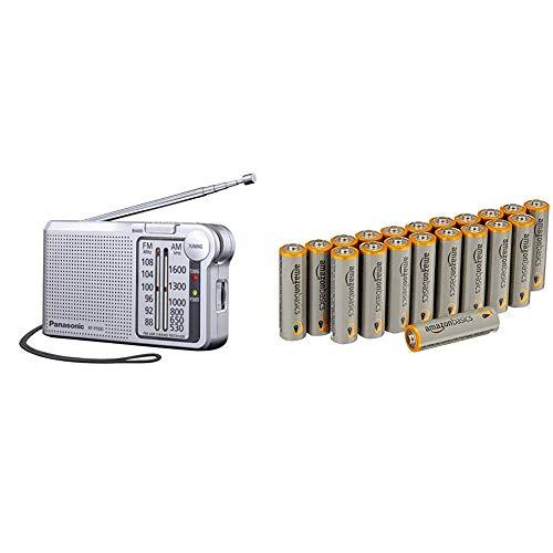 Panasonic RF-P150DEG-S Taschenradio mit Trageriemen, Batteriebetrieb Silber & AmazonBasics Performance Batterien Alkali, AA, 20 Stück (Design kann von Darstellung abweichen)