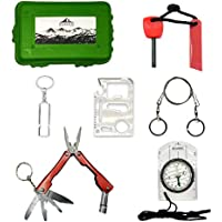 Kit supervivencia montaña Kit de supervivencia profesional | Navaja multiusos Pedernal Supervivencia accesorios acampada y vivac | Ferrocerio supervivencia de emergencia | Mini Survival kit Bushcraft