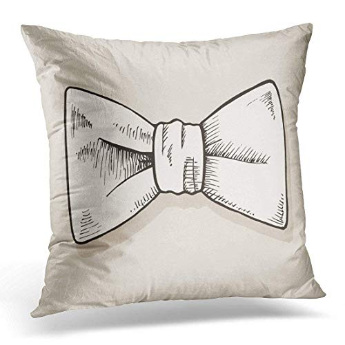 Hectwya Black Bowtie Bow Tie Doodle White Sketch Vintage Decorative Kissenbezüge Home Decor Square 18x18 Inches Pillowcase White Stripe Bow Tie