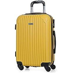 ITACA - Maleta de Viaje Cabina Rígida 4 Ruedas 55 cm Trolley ABS. Equipaje de Mano. Resistente y Ligera. Mango Asas y Candado. Vuelos Low Cost Ryanair. T71550, Color Mostaza