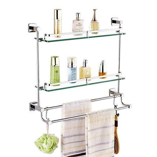 Badezimmerablagen und-regale Badezimmer-Gestell Doppelseitiges Aufsatz-Gestell Aus Gehärtetem Glas Mit Haken Wandhalterung Waschtisch Kosmetik-Gestell Multifunktion (Color : Silver, Size : 44 * 62cm) -