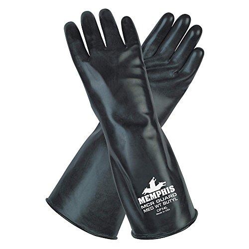 chemikalienbeständig Butyl Handschuhe, S, 35,6cm L, schwarz