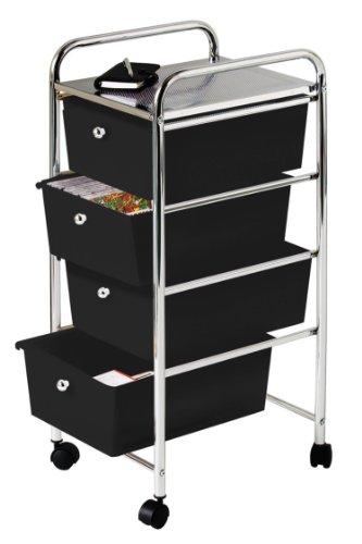 Premier Housewares - Carrito de baño, 4 cajones de plástico, 79 x 39 x 33cm, Color Negro y Plateado