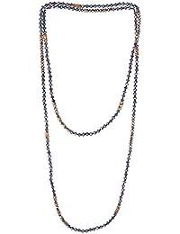 KELITCH Cristal Rebordeado Collar Doble Envolver Collar Boho Tribal Mujer Collar