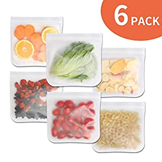 Reusable Storage Bags (6 Pack) - Sandwich Bags BPA Free Freezer Bag Reusable - Extra Thick Ziplock Bag Leakproof Lunch Bag for Food Storage, Home Organization, Food Snacks