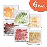 Kingterence Wiederverwendbar Sandwich Taschen (6 Pack) Wiederverwendbar Essen Lager Taschen BPA Kostenlos Gefrierschrank Taschen